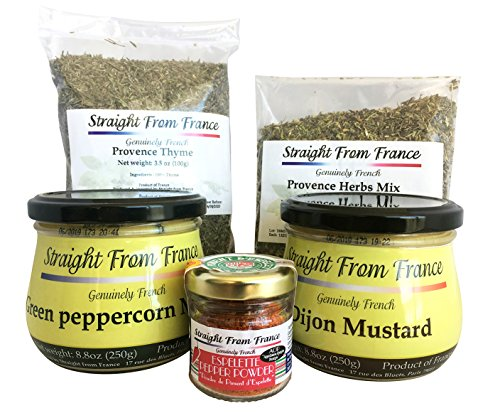 Straight from France French Seasoning Assortment of Provence Herbs, Ground Thyme, Gourmet Dijon and Peppercorn Mustards and Espelette Pepper 5 ()