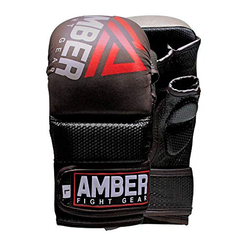 AFG Contender Sparring MMA Glove Real Leather Hybrid Grappling Martial Arts Sparring Punching Bag Cage Fighting Maya Hide Leather Mitts UFC Combat Training Open Palm Half Thumb Large/XLarge ()