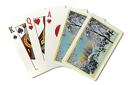 Salt Lake City, Utah - View of the Mormon Temple Grounds in the Winter (Playing Card Deck - 52 Card Poker Size with Jokers)