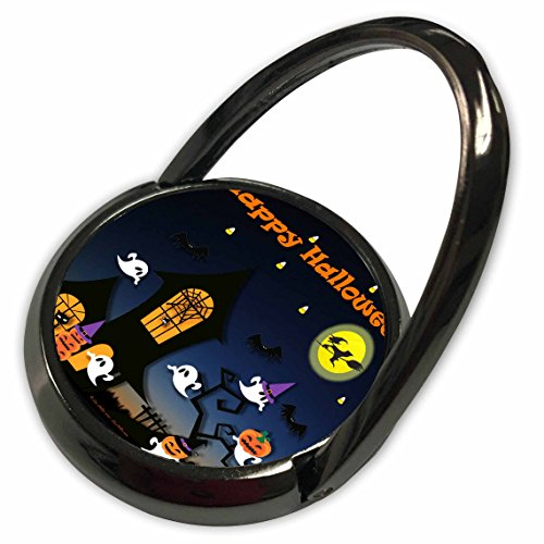 - 3dRose Lee Hiller Designs Holidays Halloween - Halloween Haunted House Ghosts Jack-o-Lanterns Bats - Phone Ring (phr_47429_1)