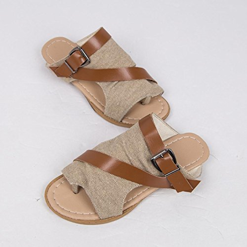 HUHU833 Women Slide Wedge Crisscross Buckle Cutout Stacked Wedge Sandal Khaki rua9aNnEnv