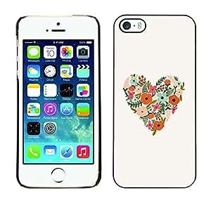 TopCaseStore / la caja del caucho duro de la cubierta de protección de la piel - Spring Flowers Love Floral White - Apple iPhone 5 / 5S