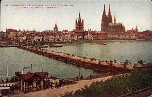Cathedral of Cologne and Pontoon Bridge Over the Rhine Cologne, Germany Original Vintage Postcard