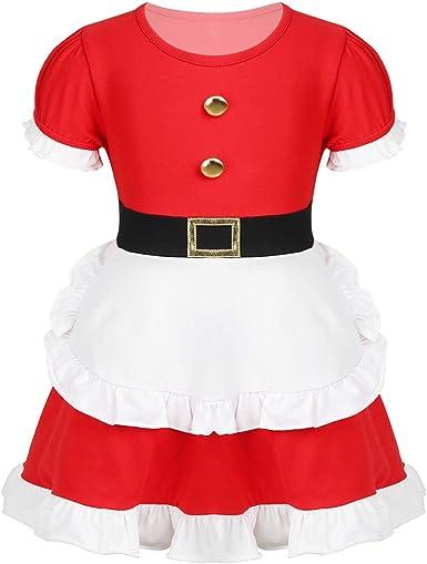 dPois Vestido Navidad para Bebé Niña Mangas Cortas Vestido de ...