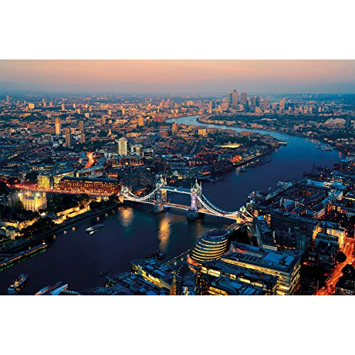 Great Art Wall Decorations London Sunset - City Landscape Wallpaper United Kingdom England Poster Bridge Photo (55 Inch x 39.4 Inch/140 cm x 100 cm)