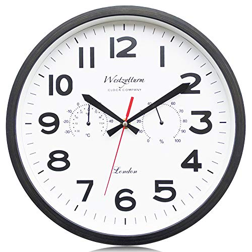 Westzytturm Hanging Wall Clock With Temperature and Humidity Battery Operated Non Ticking Silent Large Digital Modern Big Clocks for Living room Decor Bedrooms Kids Home Kitchen Office(Black 12 inch)
