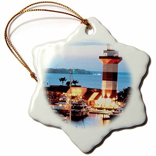 Delia32Agnes Harbor Town Lighthouse at Hilton Head Island at Dusk Snowflake Christmas Ornaments Funny Novelty Porcelain Hanging