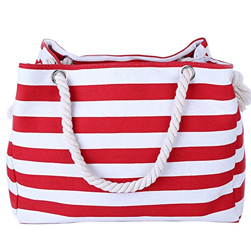 with Pocket Canvas Rope Beach with THEE Zipper Inner Z Tote Handles Bag red wOnBEX