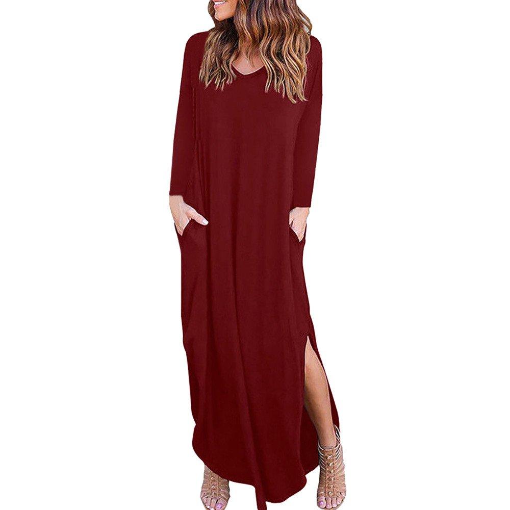 iYmitz 2018 Summer Autumn Winter Womens Christmas Loose Casual Beach Gallus Long Sleeves V-Neck Floor-Length Long Maxi Dress Solid T Shirt Dress with Pockets XR-22