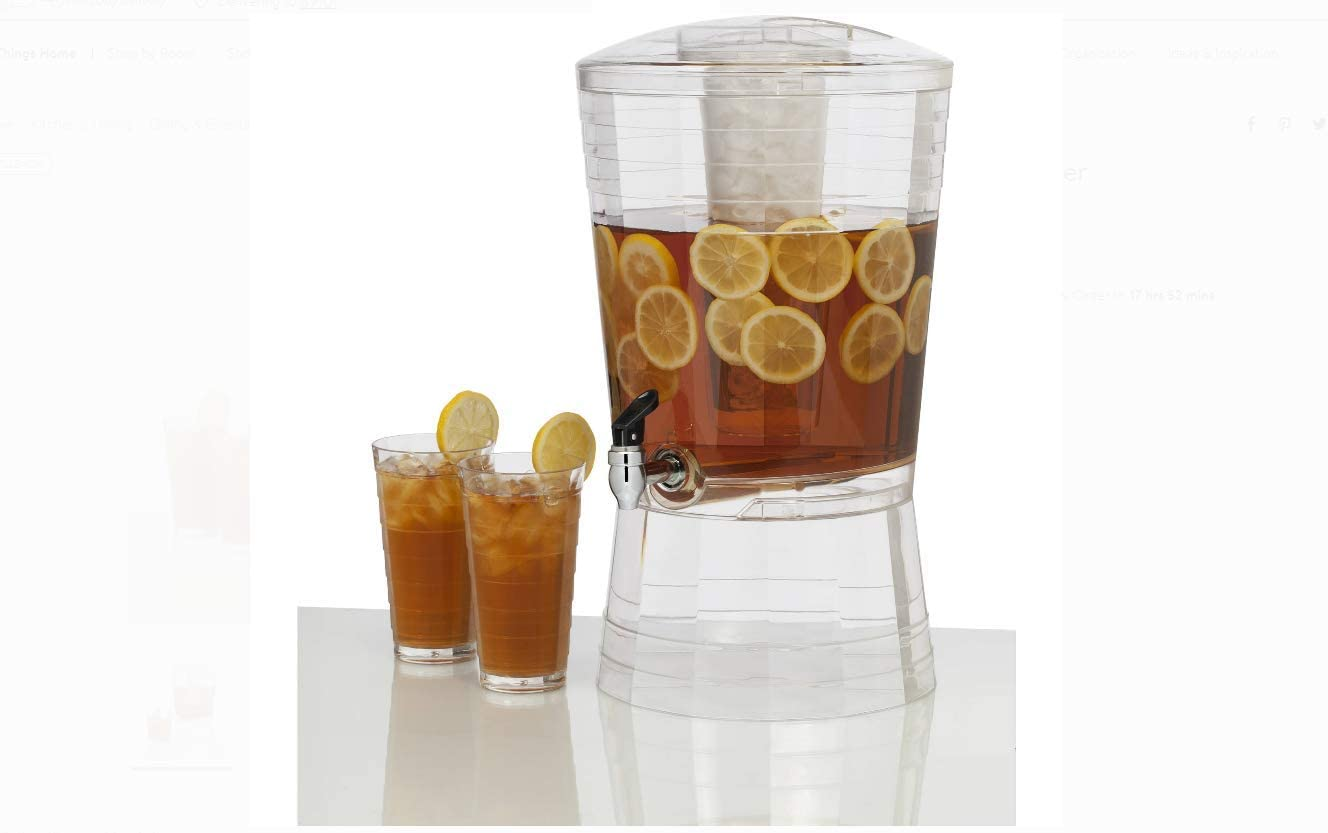 CreativeWare CreativWare 3-Gallon Mosaic Beverage Dispenser, Clear