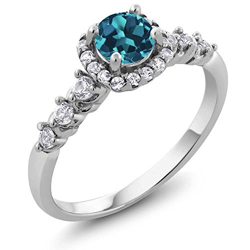 Round Blue Topaz Prong - Sterling Silver Round London Blue Topaz & White Created Sapphire Women's Engagement Ring (0.97 cttw, Available in size 5, 6, 7, 8, 9)