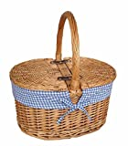 Blue Check Lining Oval Picnic Basket