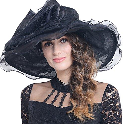 Women Kentucky Derby Church Dress Organza Hat Wide Brim Flat Hat S601 (Black) (Spring Church Hats)