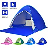 Ylovetoys Pop Up Beach Tent, 2-3 Persons Instant Beach Tents Sun Shelter Anti-UV Cabana Shade Waterproof Family Tent for Beach Camping Fishing Hiking or Picnic (Dark Blue)