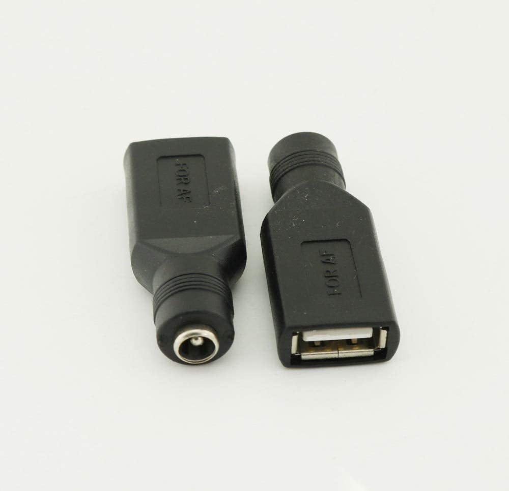 Cable Length: 0, Color: Black Connectors 3pcs USB 2.0 A Female to 5.5mm x 2.1mm Female 5V DC Power Supply Adapter Connector
