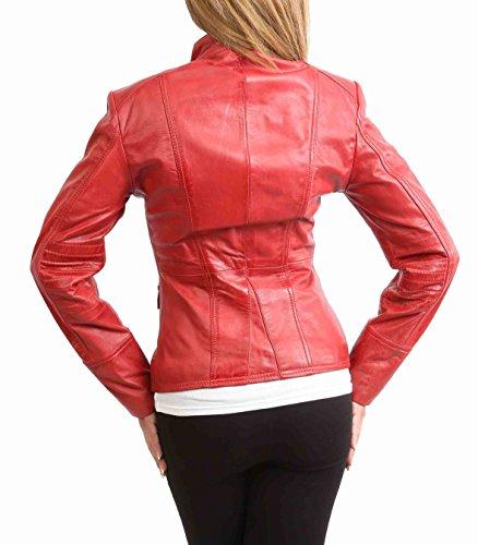 Janet Of Genuino Delgado Militar Mujer House Ajuste Leather Casual Estilo Chaqueta Cuero Rojo PtqxdZ