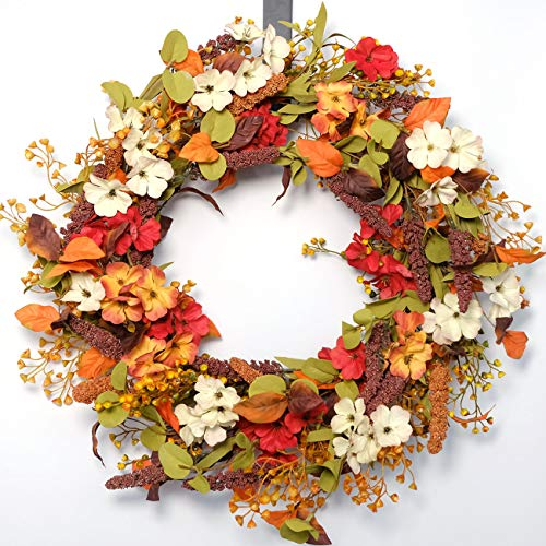 idyllic 22 Inches Fall Wreath, Mixed Flower Wreath for Front Door, Home Decoration