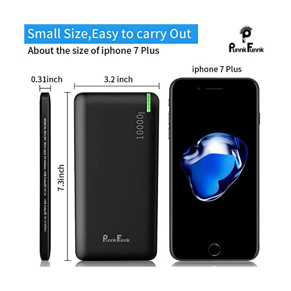 PunnkFunnk Slim91 10000mAh Power Bank with 2 Output Ports, 10W Fast Charging (Black) 2021 June 10000mAh Lithium Ion Battery: Punnkfunnk Power Bank comes with high-density advanced Lithium Ion batteries that makes it more durable and optimizes charging efficiency. It can charge iPhone 7 for 4 times, a Galaxy S8 for 2.3 times, or an iPad Mini 1.5 times. 10W Fast Charging: The New Punnkfunnk Power Bank comes with 10W Fast Charging. It supports 5V/2.1A charging outputs that ensures efficient and quick charging for your devices. Classic Single Port: Single input ports (Micro-USB) and Dual USB Output with smart charging - Punnkfunnk Power Bank intelligently adjusts power output up to 10W to deliver fast and efficient charging for each connected device.