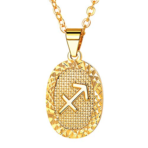 FOCALOOK Women Zodiac Sign Sagittarius Jewelry 18k Gold Plated Oval Constellation Horoscope Pendant Necklace Birthday Gift