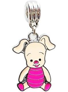 NEW Silver Tone Disney Pig Piglet Charm Beads Fits Most European Charm Bracelets