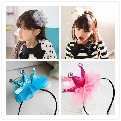 Generic Toothed hair hoop Korean children hair accessories Korean girls headdress organza three-dimensional crown tiara tiara slip baby headband hairpin
