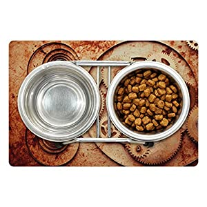 Ambesonne Vintage Pet Mat for Food and Water, Mechanical Clocks Details Old Rusty Look Backdrop Gears Steampunk Design, Rectangle Non-Slip Rubber Mat for Dogs and Cats, Dark Orange Beige