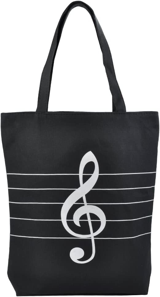 KingPoint Music High Note Treble Clef Pattern Cotton Handbag Shopper Grocery Bags Kids Students Reusable Tote Carrying Books Snacks Food Lunch Dinner Box(Black)