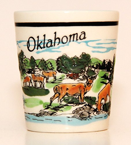 Oklahoma Prairie Forest Scene Ceramic Shot Glass