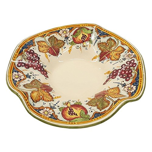 Fruit Bowl Panel (CERAMICHE D'ARTE PARRINI - Italian Ceramic Pottery Centerpieces Grape Fruit Bowl Hand Painted Made in ITALY Tuscan)