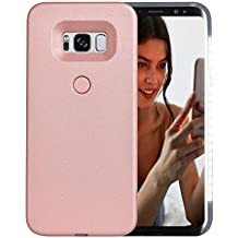 AUYOUWEI Galaxy S8 Case, LED Illuminated Selfie Light Case Cover [Rechargeable] Light Up Luminous Selfie Flashlight Cell Phone Case for Samsung S8 (Rose Gold)
