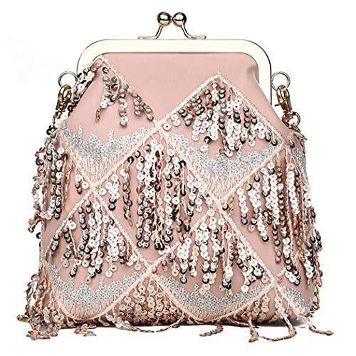 Mujeres Moda Pink Con Para De Bandolera Lentejuelas Bolso Mensajero HO0qO