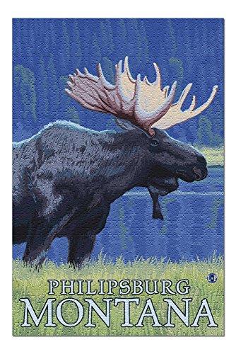 Philipsburg, Montana - Moonlight Moose (20x30 Premium 1000 Piece Jigsaw Puzzle, Made in USA!) -
