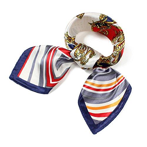 Women Silk Feel Neck Head Square Scarf Hair Wrap Fashion Floral Striped Uniform Pattern 23