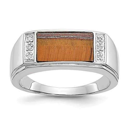 14k White Gold Tigers Eye A Diamond Mens Band Ring Size 10.00 Man Fine Jewelry Gift For Dad Mens For Him ()