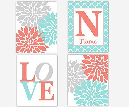 Baby Girl Nursery Wall Art Coral Aqua Teal Gray Flower Burst Girl Room Wall Decor Floral Prints Personalize Name Art Baby Nursery Decor SET OF 4 UNFRAMED PRINTS