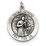 Finejewelers Sterling Silver Antiqued Saint Gerard Medal Pendant Necklace Chain Included