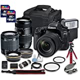 Canon EOS 80D DSLR Camera Bundle with Canon EF-S 18-55mm f/3.5-5.6 IS STM Lens + Tamron Zoom Telephoto AF 70-300mm f/4-5.6 Macro Autofocus Lens + 2 PC 16 GB Memory Card + Camera Case