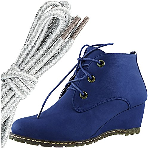 DailyShoes Womens Fashion Lace Up Round Toe Ankle High Oxford Wedge Bootie, Grey White Blue Pu
