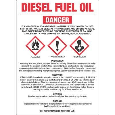 Diesel Fuel Oil (NO. 2) GHS Label by Emedco