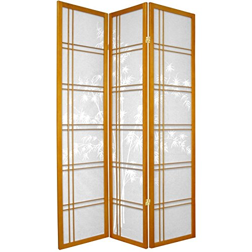 Double Cross Tree Bamboo (ORIENTAL FURNITURE 6 ft. Tall Double Cross Bamboo Tree Shoji Screen - Honey - 3 Panels)