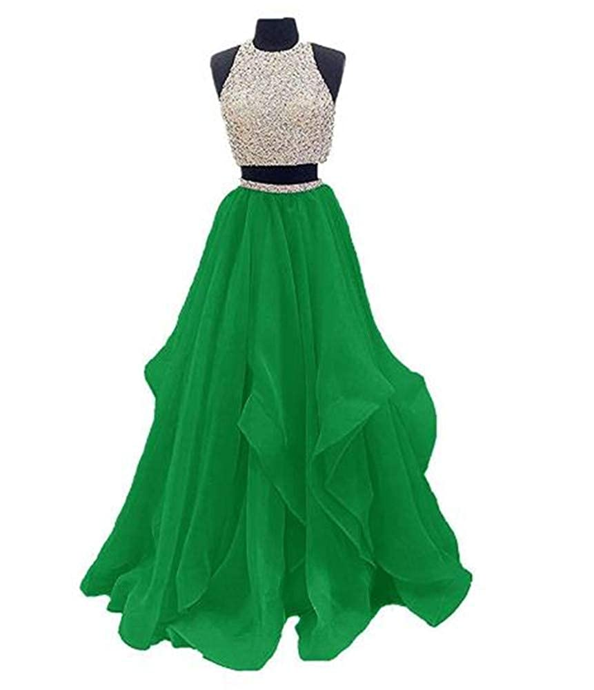 Green Yuki Isabelle Women's Two Pieces Beaded Keyhole Back Evening Gown Floor Length Organza Prom Dress