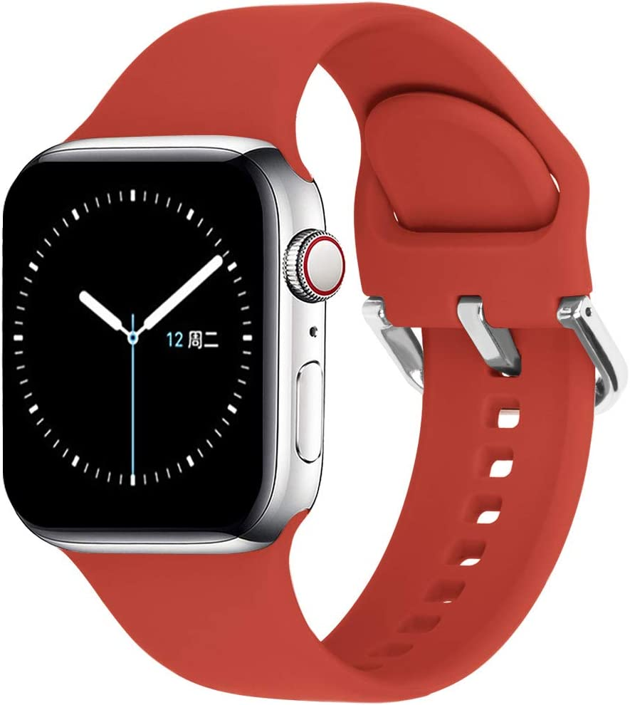 eCamframe Sport Watch Bands Compatible for Apple Watch Band 38MM 40MM 42MM 44MM, Soft Silicone Wristband Strap Compatible with iWatch SE, Apple Series/6/5/4/3/2/1 (Red, 38mm 40mm-S/M)