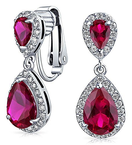 (Red Teardrop CZ Halo Prom Drop Statement Clip On Earrings Simulated Ruby Cubic Zirconia Silver Plated)