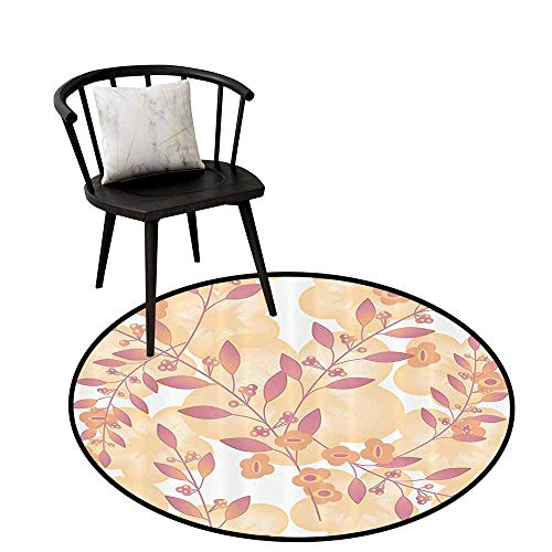 Decorative Round Rug Beige Decor for Bathroom Pastel Berry Branches Autumn Spring Repetitive Vegetative Fresh Season Simplistic Graphic Pink Peach D31(80cm)
