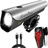 USB Rechargeable Bike Light Kit - LED Bicycle Headlight and Taillight Super bright 300 Lumens - High Capacity Li- ion Battery Waterproof Fits all MTB Mountain and Road Bikes - Cycling Safety Lights