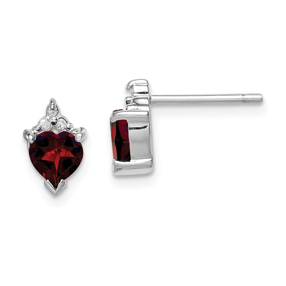 Mia Diamonds 925 Sterling Silver Solid Rhodium Heart Garnet and Diamond Ring