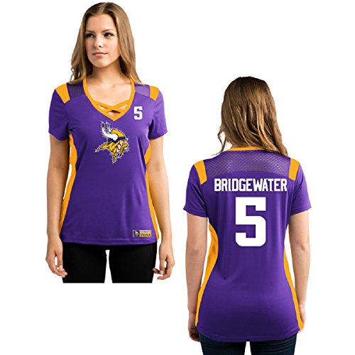 Minnesota Vikings Women's Purple Jersey V-Neck T-shirt