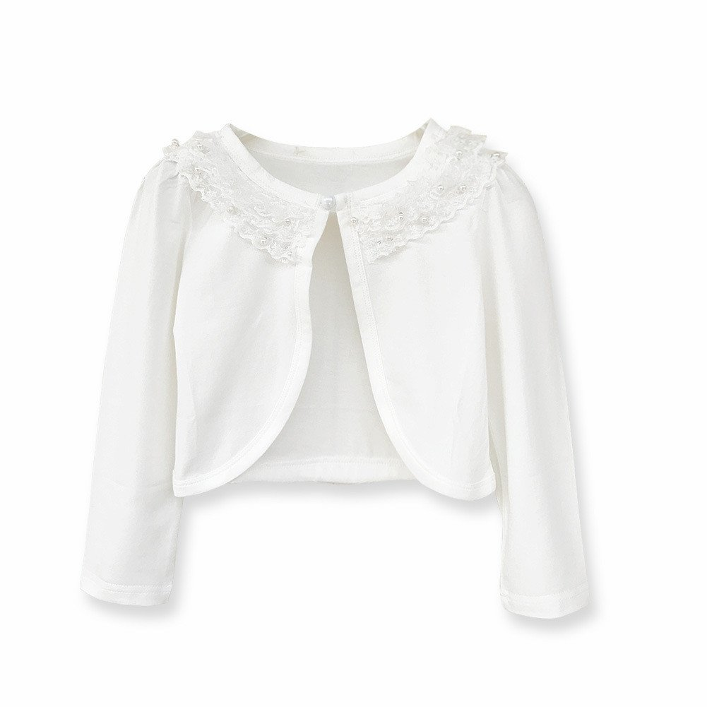 Sinmoocy Little Girls' Long Sleeve Lace Bolero Shrug Cardigan White Size 7-8