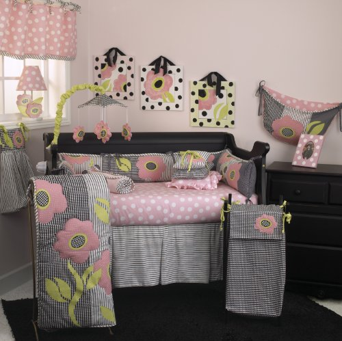 Cotton Tale Designs Poppy 8 Piece Nursery Crib Bedding Set - 100% Cotton- Pink Floral Applique Contemporary Black & White Houndstooth, Polka Dots, and Stripes - Baby Shower Gifts for -