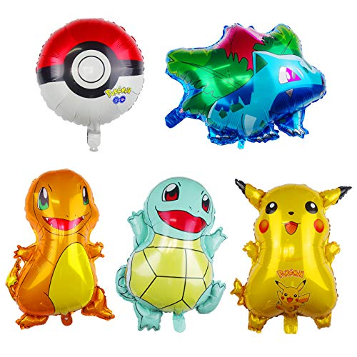 Tuoyi Pokemon Series Huge Foil Balloons Party Supplies,Include Pikachu, 3friends and a Pokemon Ball,Pokemon Theme Birthday Party Decorations for Pokemon Enthusiasts